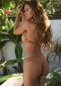 Hipster Cheeky Thong Bikini Bottom in Shimmering Nude