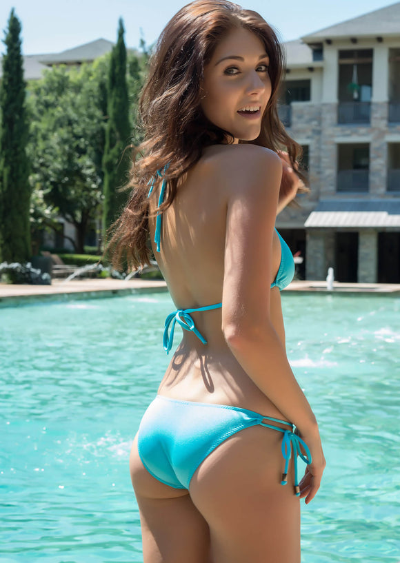 Amalfi Tie Side Bikini Bottom in Aqua with Gunmetal Accents