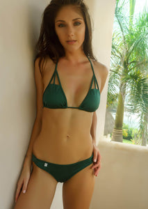 Cutout Triangle Bikini Top in Soft Forest Green