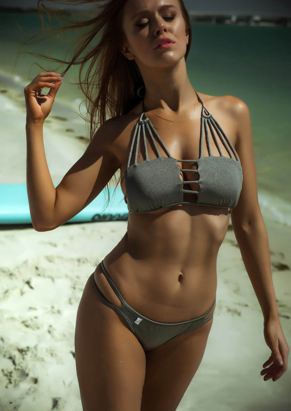 Rope String Halter Bikini Top in Shimmering SIlver