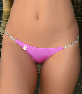 Half Pucker Bikini Bottom in Light Purple with Crystal Strand