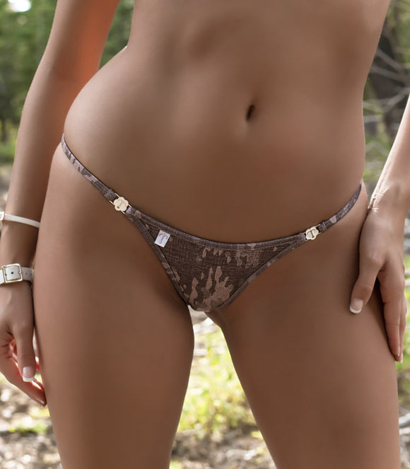 Half Pucker Bikini Bottom in Stonewash Camo Print