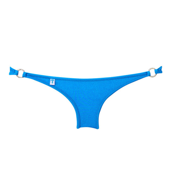 Full Pucker Bikini Bottom in Bright Blue with Crystal O Accents