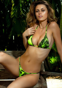 Enhanced Cut Triangle Top in Lime Green Palm Print with Sahara Green Swarovski Crystal Accent