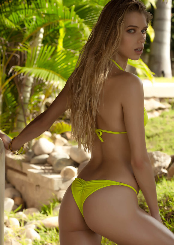 Brazilian Half Pucker Bikini Bottom in Soft Lime Green with Crystal O-Rings