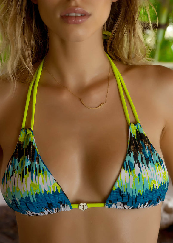 Seamless 2-String Triangle Top in Psychedelic Surf Print with Soft Lime Green