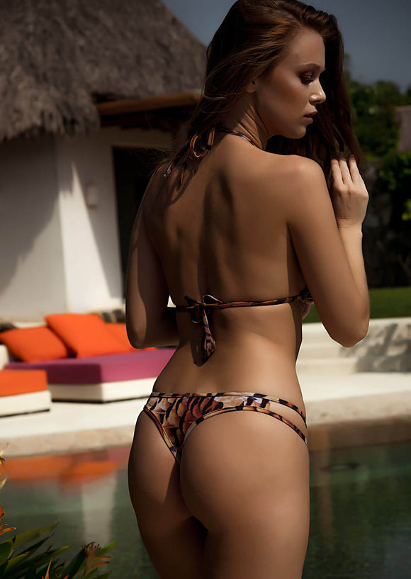 Hipster Thong Bikini Bottom in Feather Print