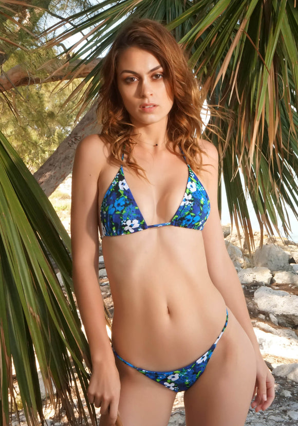 Micro Seamless Triangle Bikini Top in Blue Meadow Print