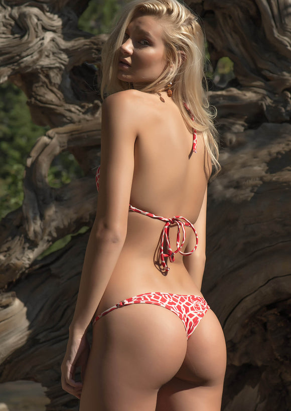 Mid-Rise Brazilian Cheeky Thong in TeenyB Original Print Red Cream Honu with Crystal Accents