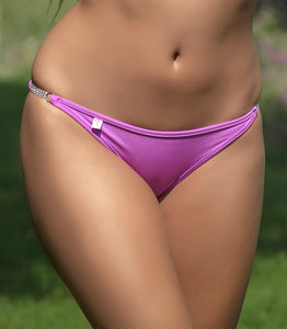 Brazilian Bikini Bottom in Light Purple with Crystal Strand Trim