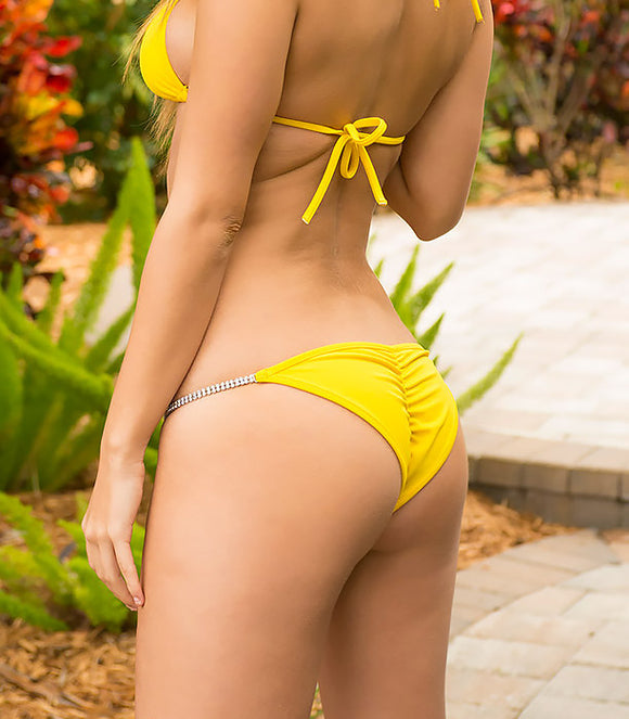 Brazilian Full Pucker Bikini Bottom in Bright Yellow with Crystal Strand Trim