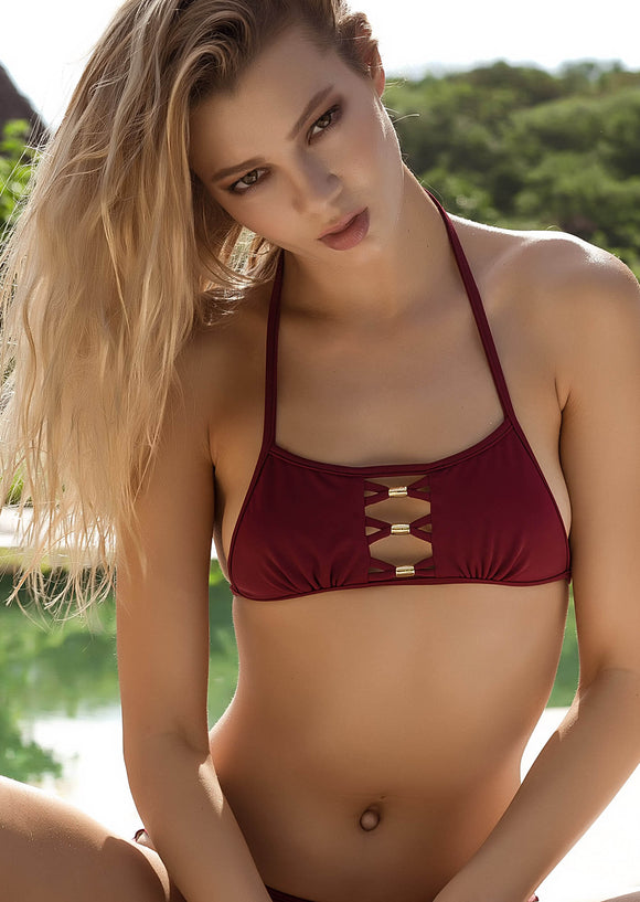 Peek-A-Boo Halter Top in Burgundy with Gold Accents