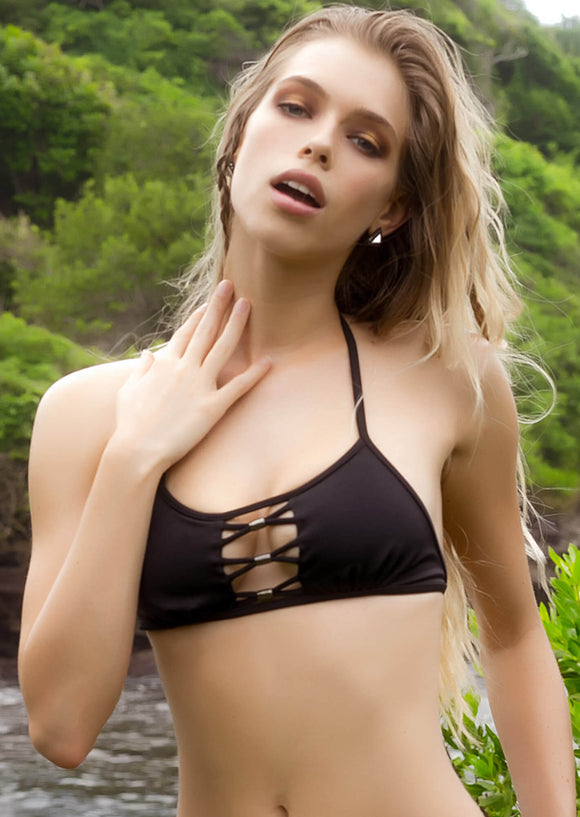 Peek-A-Boo Halter Top in Black with Gunmetal Accents
