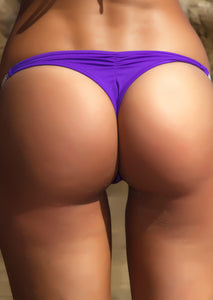 Whaletail Thong Bikini Bottom in Bright Purple with Crystal Chain
