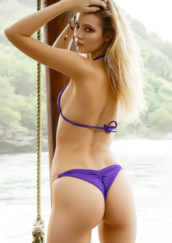 Half Pucker Bikini Bottom in Bright Purple with Crystal Chain Strand