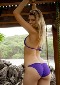 Rio Pucker Bikini Bottom in Bright Purple with Crystal Strand