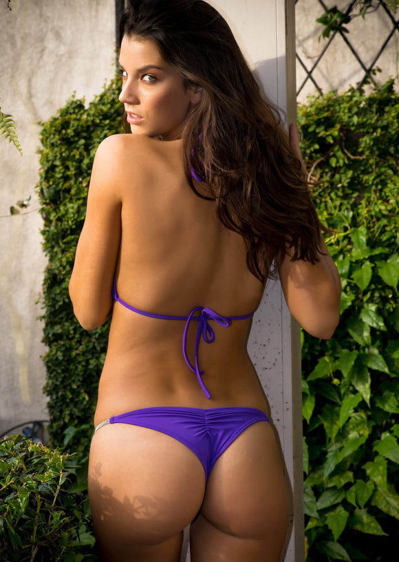 Brazilian Half Pucker Bottom in Bright Purple with Crystal Chain Strand