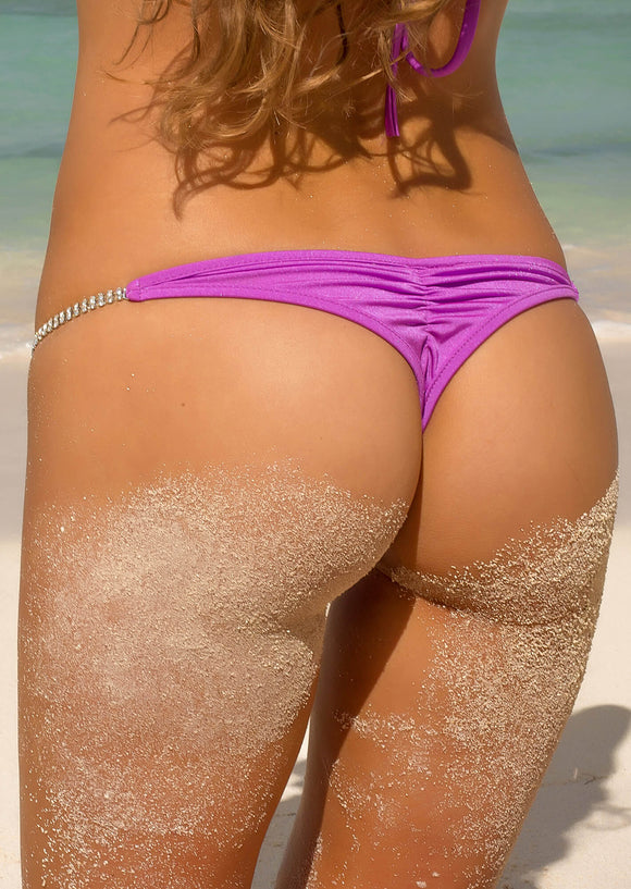 Whaletail Thong in Light Purple with Crystal Strand