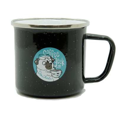 Enamel Coffee Snob/Geek Camper Mugs