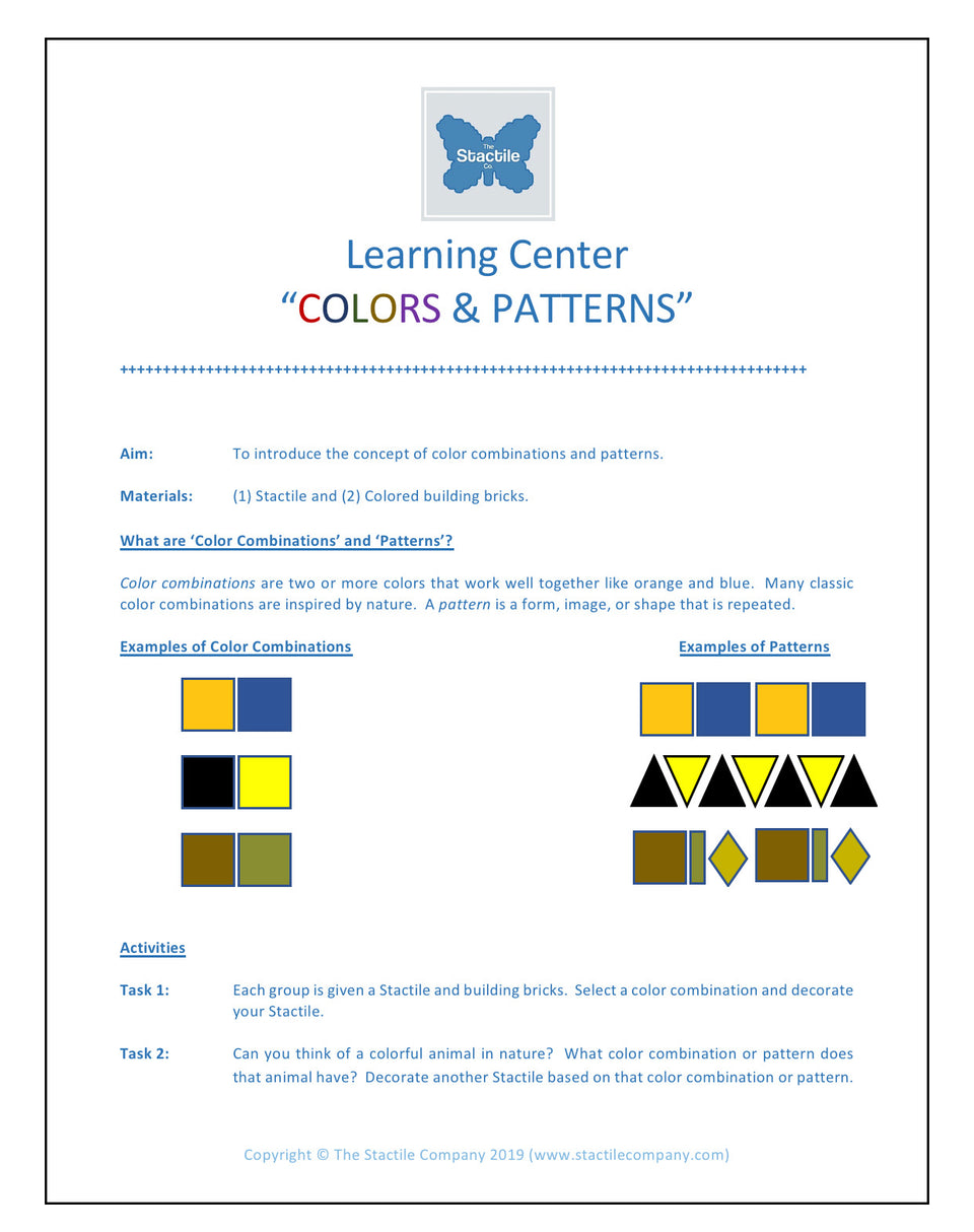Learning Centers Colors and Patterns - Digital Download