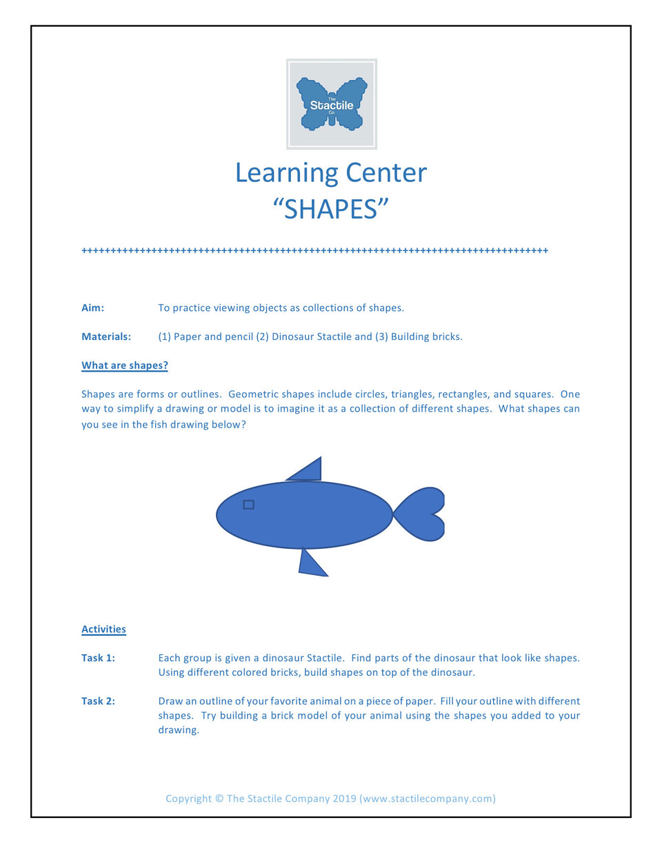 Learning Centers Shapes - Digital Download