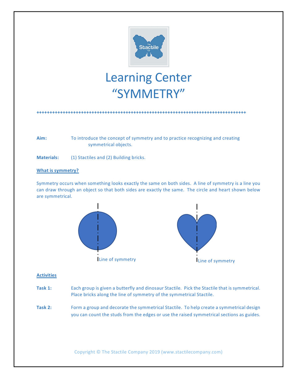 Learning Centers Symmetry - Digital Download