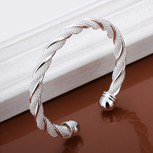 Silver Braided Cuff Bangle - inspire shop