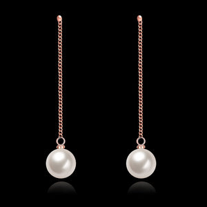 Gold Pated Double Pearl Drop Earrings - inspire shop