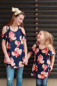 Girls Floral Cold Shoulder Tunic