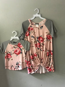 Mommy and Me Floral Raglan Set