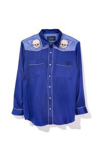 Skull Embroidery Silk Western Shirt