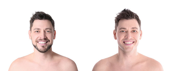 a man before and after shaving