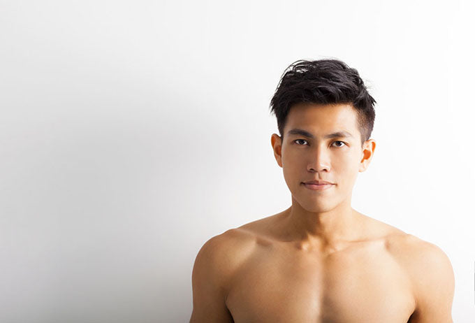portrait of fit shirtless man