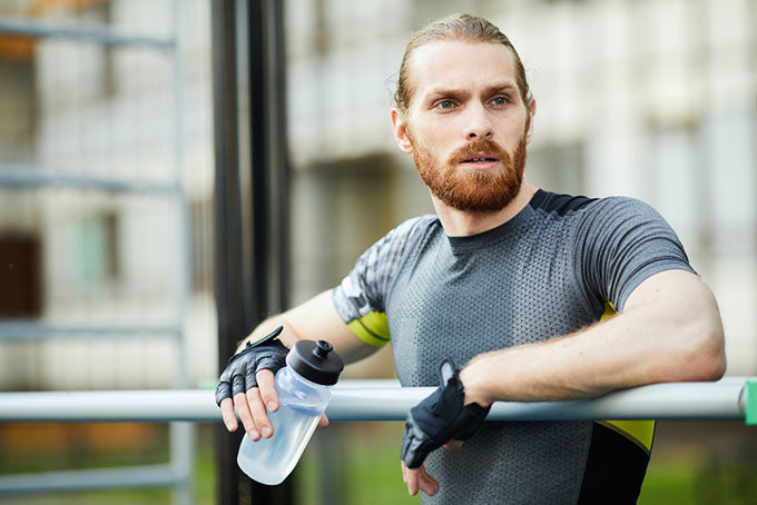 portrait man sweating after exercise