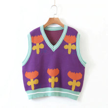 Load image into Gallery viewer, Tulip Flower Colourful V-Neck Sweater Vest