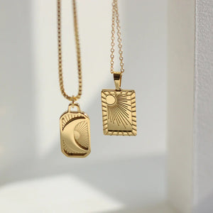 18k Gold Plated Sun and Moon Necklace