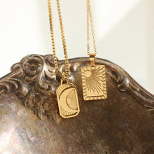 Load image into Gallery viewer, 18k Gold Plated Sun and Moon Necklace