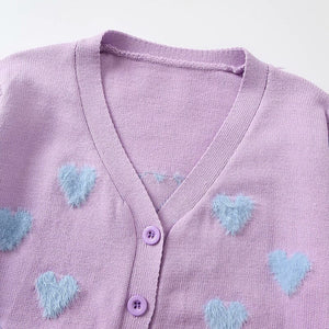 Phoebe Pink Cardigan Sweater With Blue Hearts