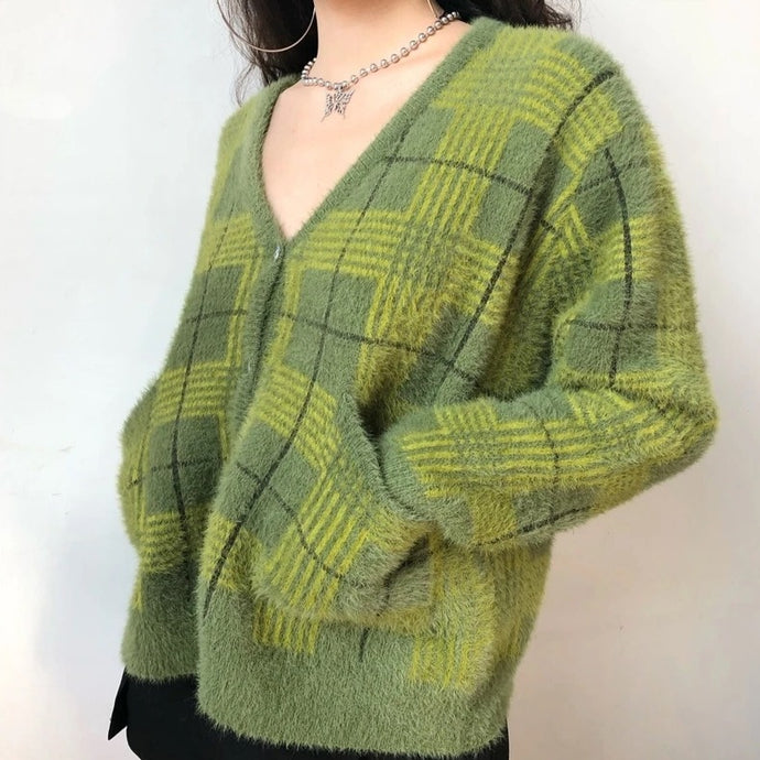 Fuzzy Plaid Cardigan