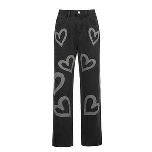 Heart Printed Y2K Straight Jeans