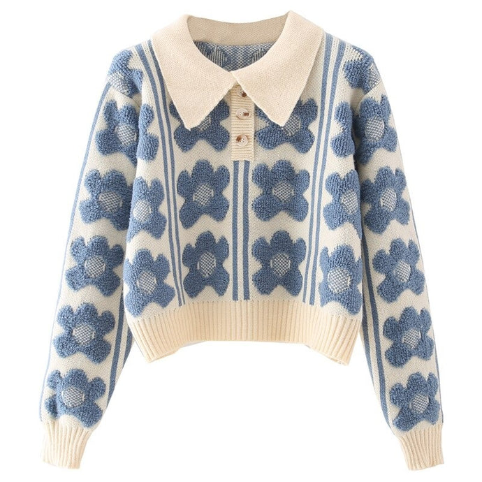 Natalie Flower Print Pullover Sweater