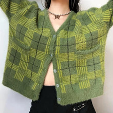 Load image into Gallery viewer, Fuzzy Plaid Cardigan