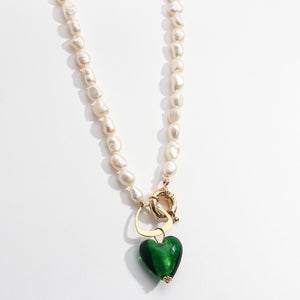 Green Glass Heart & Freshwater Pearl Necklace