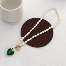 Load image into Gallery viewer, Green Glass Heart & Freshwater Pearl Necklace