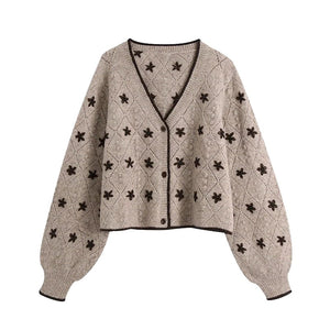 Floral Embroidery Cropped Knitted Cardigan