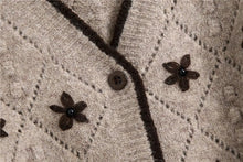 Load image into Gallery viewer, Floral Embroidery Cropped Knitted Cardigan