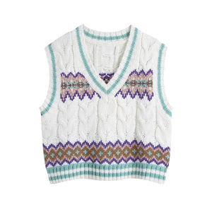 Leia Loose Cropped Cable-Knit Vest Sweater
