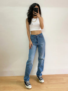 High Waisted Blue Loose Denim Jeans
