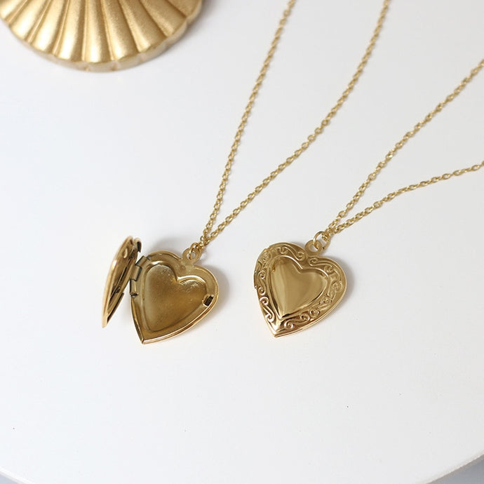 18K Gold Plated Heart Locket Necklace