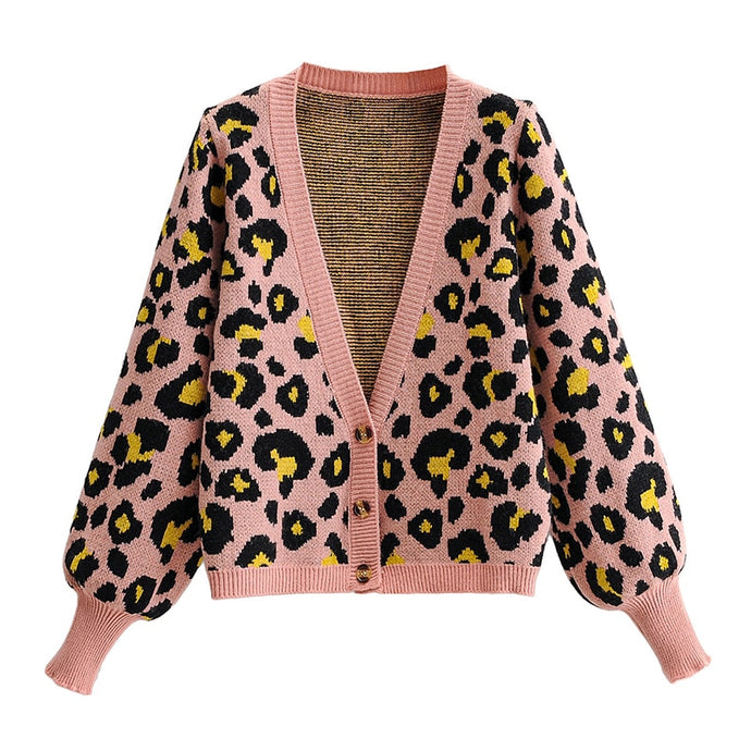 Leopard Print V-Neck Cardigan Sweater